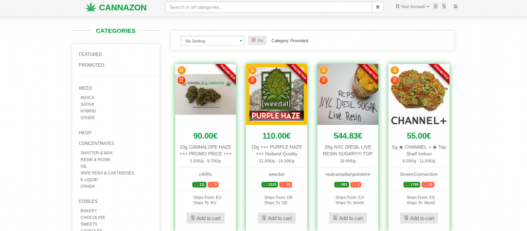 Cannazon Market Products