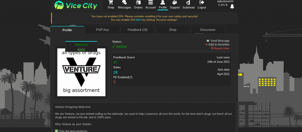 Vice City Market Product Page